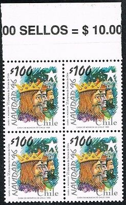 Chile 1996 Stamp # 1857 Mnh Block Of Four Christmas