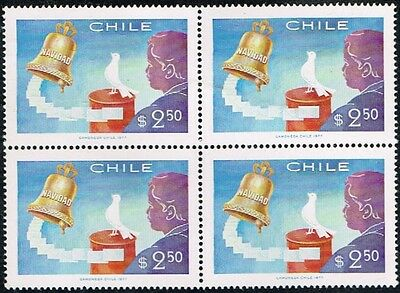 Chile 1977 Stamp # 925 Mnh Block Of Four Christmas