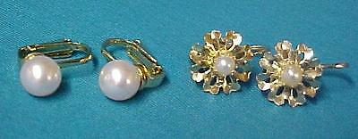 Vintage Gold Pearl Flower Snowflake Unmarked Clip Back Earrings Collectible