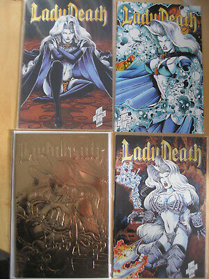 LADY DEATH : The ODYSSEY, COMPLETE 4 ISSUE CHAOS 1996 SERIES. #1 GOLD FOIL COVER
