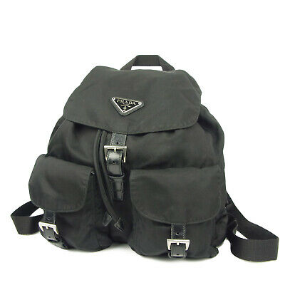 7728a26d1bdf AUTH PRADA LOGOS Tessuto Nylon Drawstring Backpack Bag F/S 3736 ...