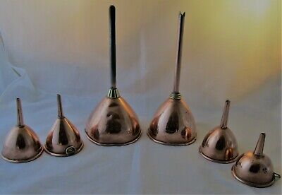 A Good Set of 6 Copper Funnels - 19th Century Kitchenalia