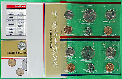 1986 US Mint Uncirculated P and D 10 Coin Set BU Philadelphia and Denver Coins