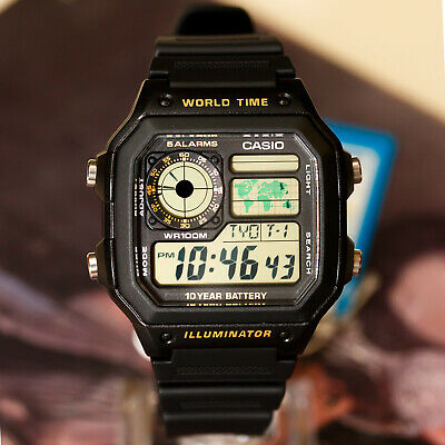 Casio AE-1200WH-1BV Men's Digital Watch 4 World Time Zones Display 5 Alarms New