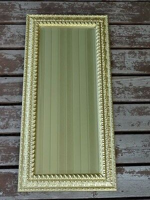 Vintage Gold Leaf Gilt Mid Century Hollywood Regency Ornate Beveled Wall Mirror