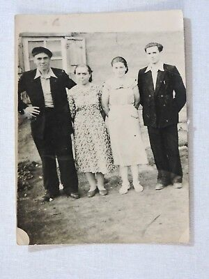 Soviet family 2 women, 2 men in village ancient real photo 1956 USSR Russia