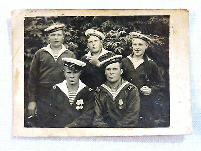 Sailors Red Soviet Army Uniform ancient real photo 1950 USSR Russia 6x8,5