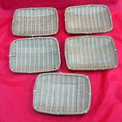 Vintage Lot 5 Japanese Rectangle Woven Bamboo Plates Dishes Trays