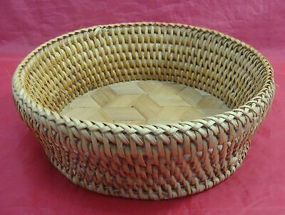 Vintage Japanese Hand Woven Bamboo Rattan Round Basket Dish Tray