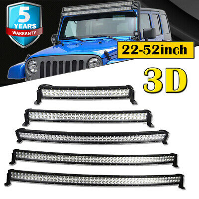 """Curved 22 32 42 50 52"""" inch 300W Led Offroad Light Bar Spot Flood Combo Driving"""
