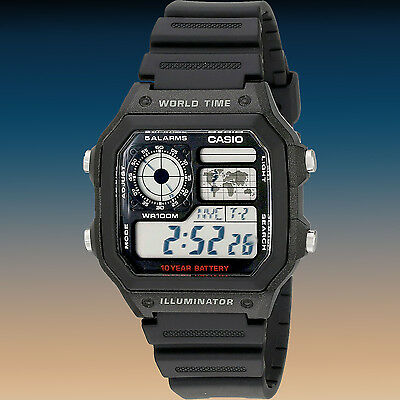 Casio AE-1200WH-1AV World Time Digital Watch 5 Alarms Time Zones Display New