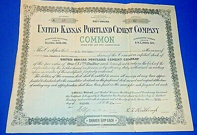 UNITED KANSAS PORTLAND CEMENT COMPANY Stock Certificate from 1913