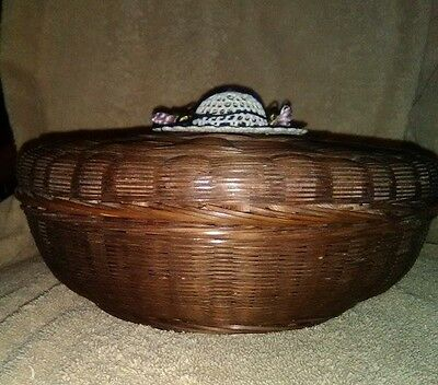 Wicker Sewing Basket with Thread Crochet Lace & Floral Decor.  Circa 1930s