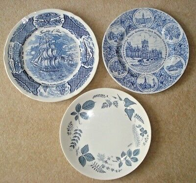 Blue white vintage plates Fair Winds Le Vieux Old Quebec Woodside eg Meakin Wood