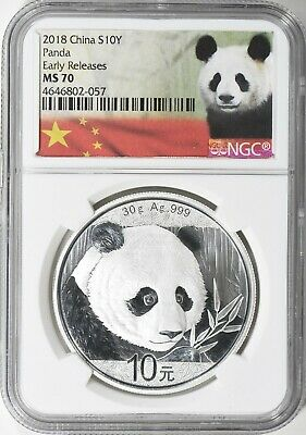 2018 CHINA PANDA .999 10 Yn 1 OZ. SILVER EARLY RELEASES NGC MS70