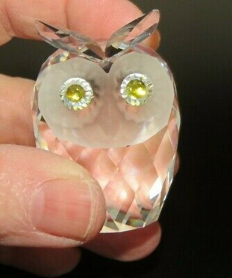 "Swarovski  Owl with golden green crystal eyes 2"" tall Mr. Dreamy Eyes  c.1979"