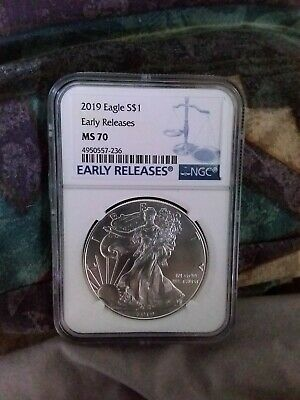 2019 1oz Silver Eagle NGC MS70 Early Releases Blue Label