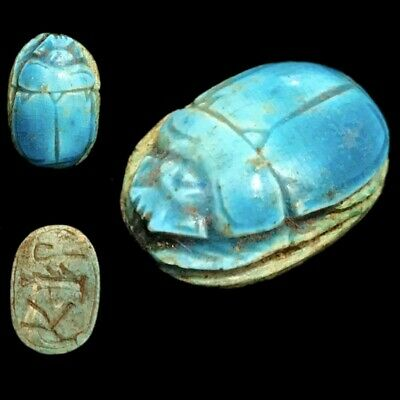 Beautiful Ancient Egyptian Glazed Scarab 300 Bc (2)