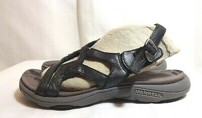 53ad3163a297 MERRELL AGAVE 2 Black Leather Strappy Sandals. J62308 Women s Size 6 ...