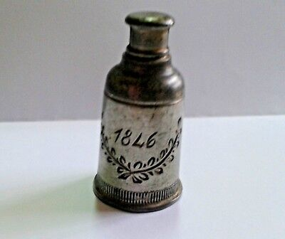 Antique  rare  Sec. XIX pewter bottle  - England made Marks