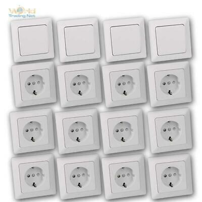 Milos Flush-Mounted In-Wall Starter-Kit 16 Piece Set Switch Sockets with Frame