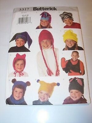 2a162bf6f6d BOYS GIRLS CHILDS UNCUT BUTTERICK Sewing Pattern 3317 HAT SCARF SIZE XS S M