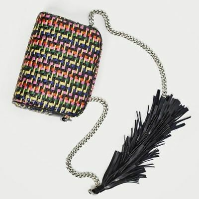 Zara Multi Coloured Braided Leather Cross Body Bag Fringe Blogger Style