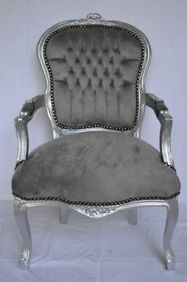LOUIS XV ARM CHAIR FRENCH STYLE CHAIR VINTAGE FURNITURE grey and siver wood