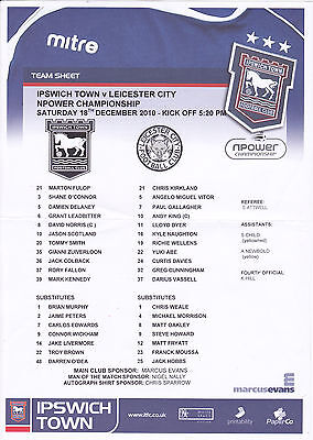 Ipswich Town  V Leicester City Championship Teamsheet 18/12/2010