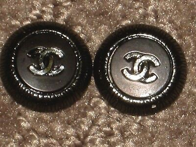 Chanel  2 Silver Metal Cc Logo Front Black  Resin  Button  15 Mm New Lot 2