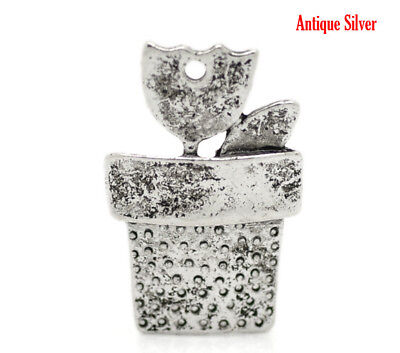 BULK SALE 20 Unusual Plant & Plant Pot Antique Silver Tone Pendant Charms