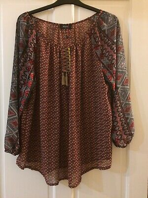 New Ex M/&S Ladies Maroon Viscose Blouse Lace Yoke Tunic Top Size 10-20 RRP £32.5
