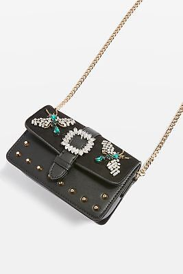 Topshop Black Jewel Rosie Bug Studded Blogger Gold Chain Cross Body Vegan Bag