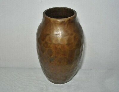 SMALL Signed POWERFUL Antique ARTS and CRAFTS Bronze VASE Hand Hammered HEAVY