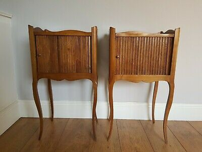 Pair Of Antique French Louis Style Night Stands Bedside Cabinets Tambour Front