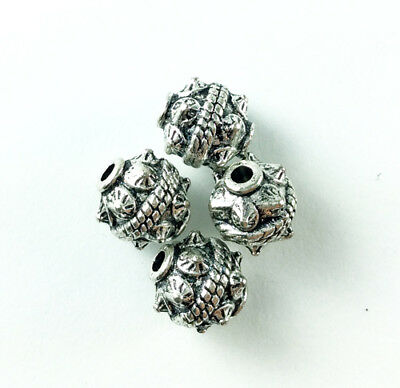 Antique Silver Plated Lead Free Alloy 10mm Round Spiked Ball Beads Q20