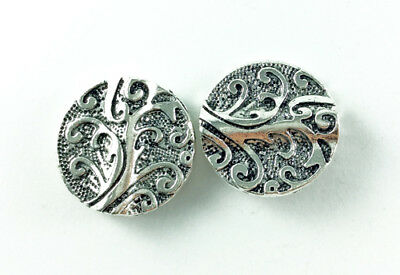 Antique Silver Plated Lead Free Alloy 20mm Large Southwestern Coin Beads Q8