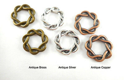 Antique Brass Silver Plated Lead Free Alloy 16mm Woven Braided Ring Links Q50