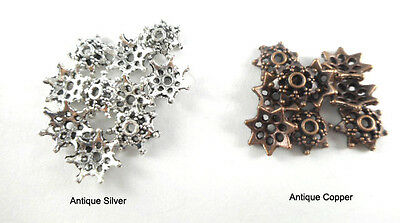 Antique Copper Silver Plated Lead Free 11mm Dotted Star Snowflake Bead Caps Q100