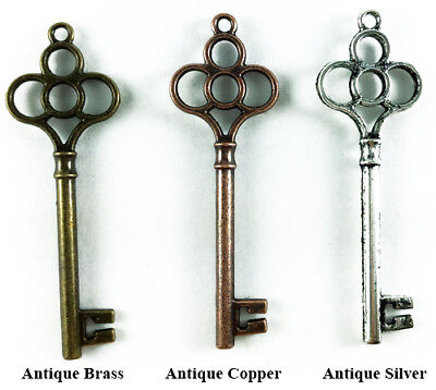 Antique Silver Copper Brass Plated Lead Safe 55x19mm Skeleton Key Pendants Q16