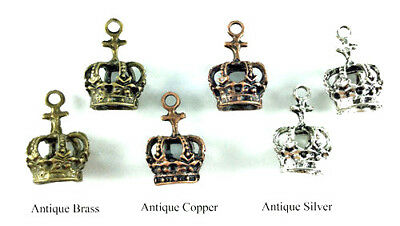 Antique Silver Copper Plated Lead Safe Alloy 21x15mm Royal Crown Charms Q20