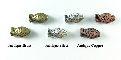Antique Brass Silver Plated Lead Safe Alloy Ocean Fish Fishing Bead 18x10mm Q16