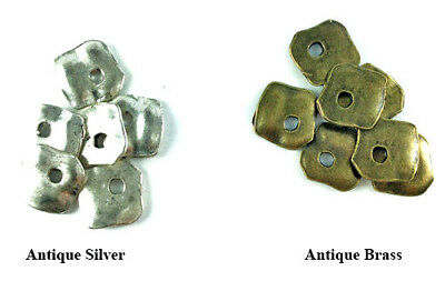 Antique Silver Brass Plated Lead Safe Alloy 14mm Hammered Square Charms Q30