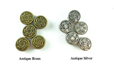 10mm Decorative Roped Coin Bead Antique Brass Silver Plated Lead Safe Alloy Q24