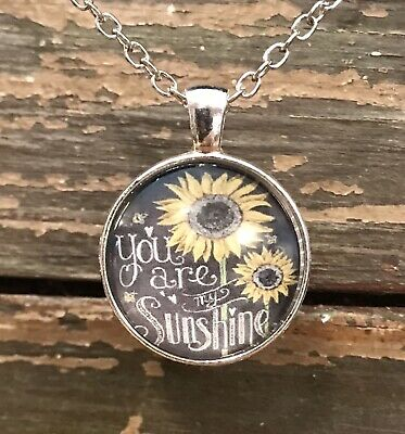 """Glass Dome Necklace Silver Pendant 19"""" Chain You Are My Sunshine Sunflower"""