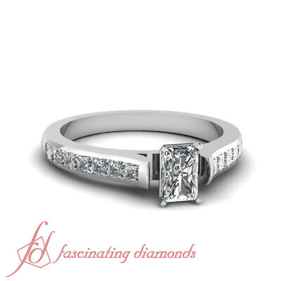 8419068f197bf 1.35 CT RADIANT Very Good Cut Diamond Cathedral Engagement Ring Channel Set  GIA