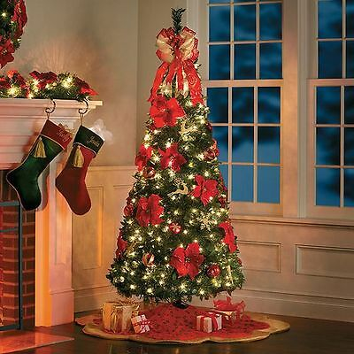 brand new 9f20b 0f2ee 6.5 FOOT PRE-LIT Decorated Poinsettia Pop Up Christmas Tree Decor