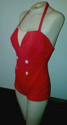 8cef20b4e727b Vintage 50s 60s Swimsuit Bathing Suit RED Sailor Girl AFLCO WORKERS UNION  MADE