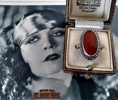ANTIQUE ART DECO 1920s BEAUTIFUL STERLING SILVER CARNELIAN MARCASITE RING SIZE Q