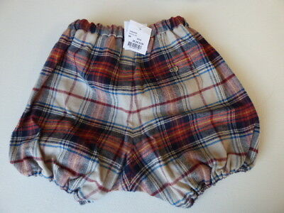 Bonpoint baby bloomers 18M nappy cover pants TARTAN cotton shorts NEW plaid